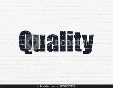 Marketing concept: Quality on wall background stock photo, Marketing concept: Painted black text Quality on White Brick wall background by mkabakov