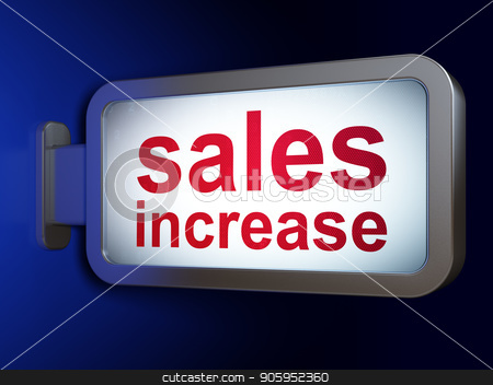 Marketing concept: Sales Increase on billboard background stock photo, Marketing concept: Sales Increase on advertising billboard background, 3D rendering by mkabakov