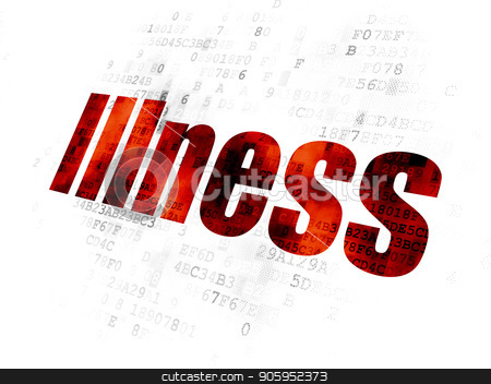 Medicine concept: Illness on Digital background stock photo, Medicine concept: Pixelated red text Illness on Digital background by mkabakov