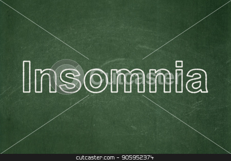 Medicine concept: Insomnia on chalkboard background stock photo, Medicine concept: text Insomnia on Green chalkboard background by mkabakov