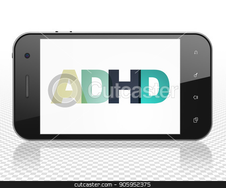 Health concept: Smartphone with ADHD on  display stock photo, Health concept: Smartphone with Painted multicolor text ADHD on display, 3D rendering by mkabakov