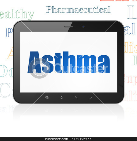 Health concept: Tablet Computer with Asthma on display stock photo, Health concept: Tablet Computer with  blue text Asthma on display,  Tag Cloud background, 3D rendering by mkabakov