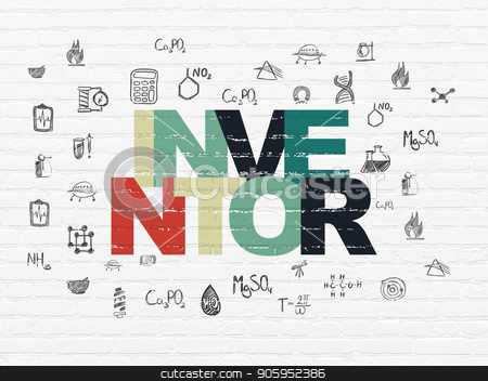 Science concept: Inventor on wall background stock photo, Science concept: Painted multicolor text Inventor on White Brick wall background with  Hand Drawn Science Icons by mkabakov