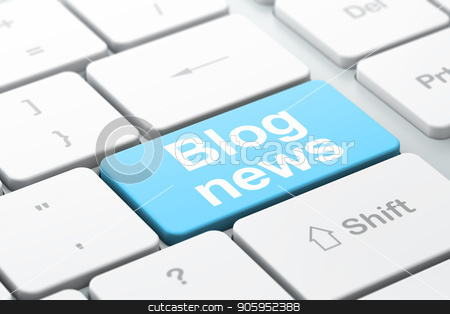 News concept: Blog News on computer keyboard background stock photo, News concept: computer keyboard with word Blog News, selected focus on enter button background, 3D rendering by mkabakov