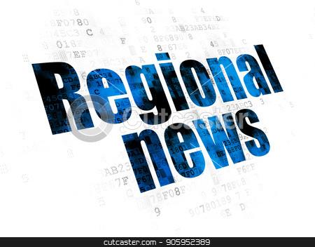 News concept: Regional News on Digital background stock photo, News concept: Pixelated blue text Regional News on Digital background by mkabakov