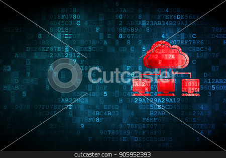 Cloud technology concept: Cloud Network on digital background stock photo, Cloud technology concept: pixelated Cloud Network icon on digital background, empty copyspace for card, text, advertising by mkabakov