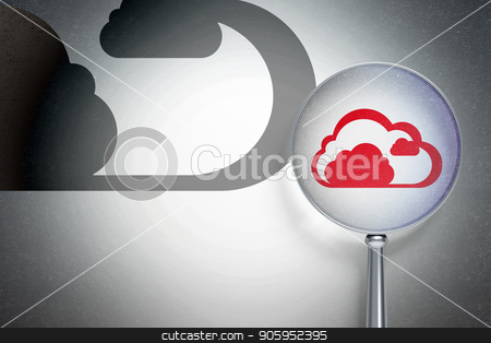 Cloud networking concept:  Cloud with optical glass on digital background stock photo, Cloud networking concept: magnifying optical glass with Cloud icon on digital background, empty copyspace for card, text, advertising, 3D rendering by mkabakov