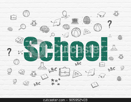 Education concept: School on wall background stock photo, Education concept: Painted green text School on White Brick wall background with  Hand Drawn Education Icons by mkabakov