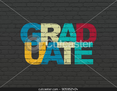 Learning concept: Graduate on wall background stock photo, Learning concept: Painted multicolor text Graduate on Black Brick wall background by mkabakov