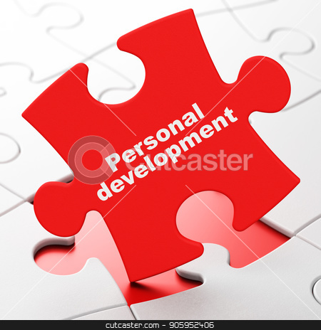 Learning concept: Personal Development on puzzle background stock photo, Learning concept: Personal Development on Red puzzle pieces background, 3D rendering by mkabakov