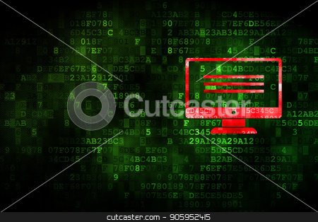 Programming concept: Monitor on digital background stock photo, Programming concept: pixelated Monitor icon on digital background, empty copyspace for card, text, advertising by mkabakov