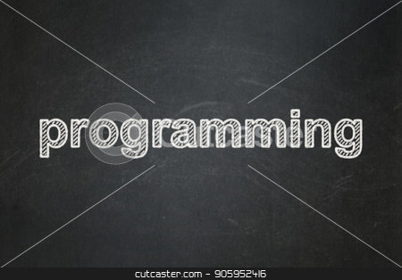 Programming concept: Programming on chalkboard background stock photo, Programming concept: text Programming on Black chalkboard background by mkabakov