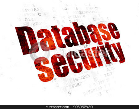 Software concept: Database Security on Digital background stock photo, Software concept: Pixelated red text Database Security on Digital background by mkabakov