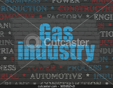 Industry concept: Gas Industry on wall background stock photo, Industry concept: Painted blue text Gas Industry on Black Brick wall background with  Tag Cloud by mkabakov