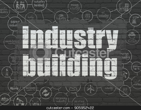 Industry concept: Industry Building on wall background stock photo, Industry concept: Painted white text Industry Building on Black Brick wall background with Scheme Of Hand Drawn Industry Icons by mkabakov