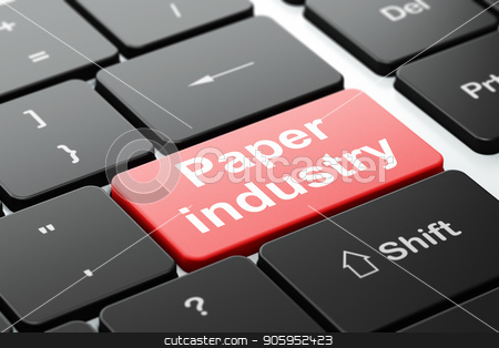 Manufacuring concept: Paper Industry on computer keyboard background stock photo, Manufacuring concept: computer keyboard with word Paper Industry, selected focus on enter button background, 3D rendering by mkabakov