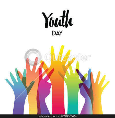 Youth day diverse teen hands greeting card  stock vector clipart, Happy Youth Day greeting card of diverse color hands and text quote. Colorful young people group concept. EPS10 vector.  by Cienpies Design