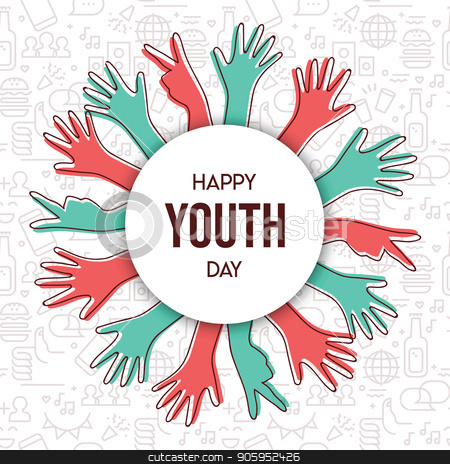 Happy Youth Day teen hand greeting card stock vector clipart, Happy Youth Day greeting card illustration, diverse group hands in colorful outline style. Young people team with typography quote. EPS10 vector.  by Cienpies Design