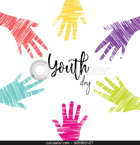 Youth Day card of diverse young people hands stock vector clipart, Happy Youth Day greeting card illustration, diverse group hands in colorful hand drawn style. Young people team with typography quote. EPS10 vector.  by Cienpies Design
