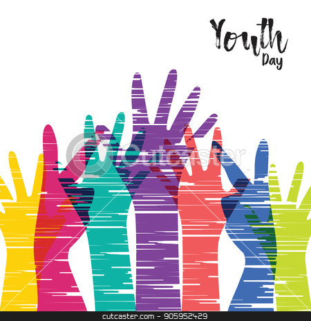 Youth Day card of diverse people group hands stock vector clipart, Happy Youth Day greeting card illustration, diverse group hands in colorful hand drawn style. Young people team with typography quote. EPS10 vector.  by Cienpies Design