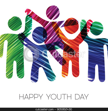 Youth Day card of colorful diverse teen group stock vector clipart, Happy Youth Day greeting card illustration. Fun teen group in diverse colors made of grunge hand drawn texture. EPS10 vector. by Cienpies Design