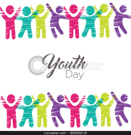 Youth Day card of diverse people in colorful art stock vector clipart, Happy Youth Day greeting card illustration. People icons in diverse colors made of multicolor grunge art texture. EPS10 vector. by Cienpies Design