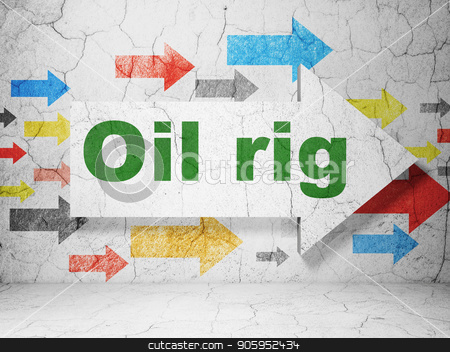 Manufacuring concept: arrow with Oil Rig on grunge wall background stock photo, Manufacuring concept:  arrow with Oil Rig on grunge textured concrete wall background, 3D rendering by mkabakov