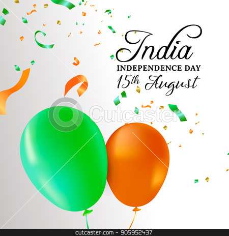 India Independence Day balloon celebration card stock vector clipart, India Independence Day greeting card illustration. Flag color balloons and party confetti for special 15th August indian celebration. EPS10 vector. by Cienpies Design