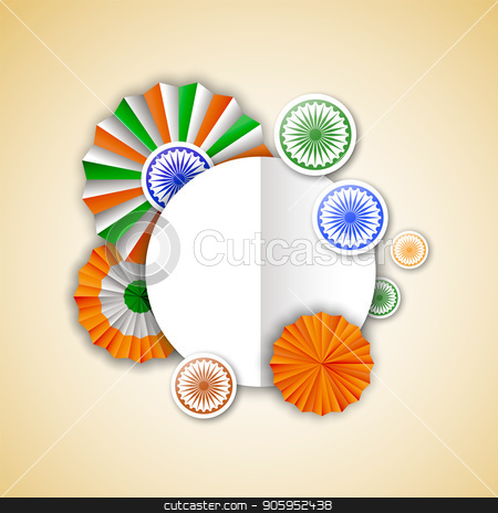 India Independence empty greeting card template stock vector clipart, India Independence Day greeting card template. Indian tricolor badge decoration in 3d style with empty copy space sign for special event text quote. EPS10 vector. by Cienpies Design