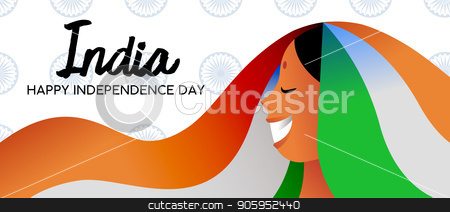 India Independence Day indian girl web banner  stock vector clipart, India Independence Day celebration web banner. Happy indian woman smiling with traditional flag color dress and bindi. EPS10 vector. by Cienpies Design