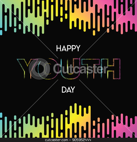 Happy Youth Day abstract glow gradient card stock vector clipart, Happy Youth Day greeting card illustration of abstract modern style colorful gradient background with special celebration text quote. EPS10 vector. by Cienpies Design