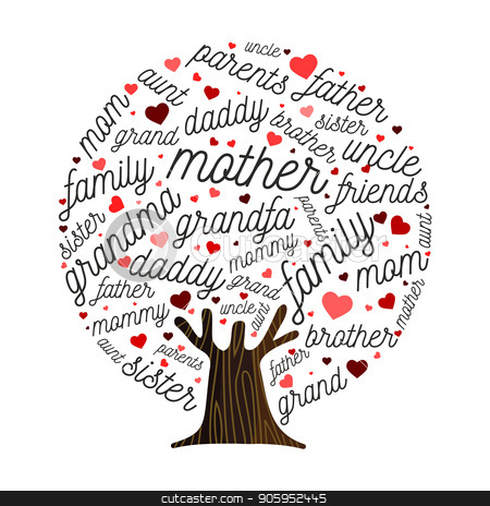 Family tree made of love heart shape concept stock vector clipart, Family tree illustration concept made of heart shape leaves for genealogy design.  Includes mom, dad. grandparent and siblings. EPS10 vector. by Cienpies Design