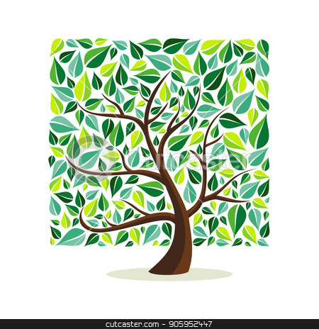 Green leaf square tree concept for nature help stock vector clipart, Tree made of green leaves with branches in square shape. Nature concept, Environment help or earth care. EPS10 vector.  by Cienpies Design