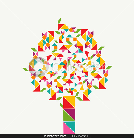 Tangram geometry shape tree concept stock vector clipart, Colorful tree with tangram game icons, abstract geometry shapes of animals. Illustration concept for kids learning or education. EPS10 vector by Cienpies Design