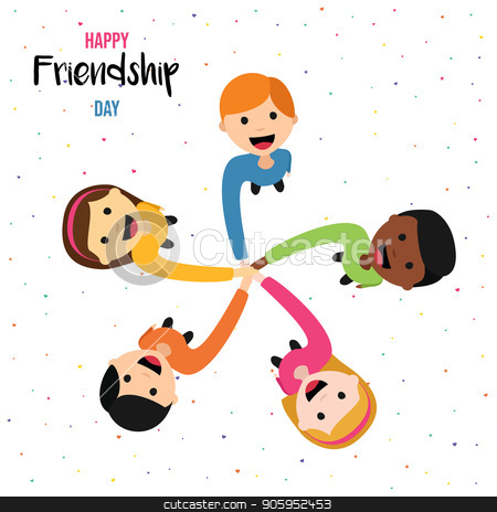 Friendship Day card of happy kid friends together stock vector clipart, Happy Friendship Day greeting card illustration of diverse children group holding hands from top view angle. EPS10 vector. by Cienpies Design