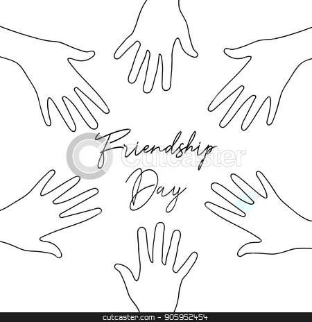 Friendship Day friend group hands together card stock vector clipart, Happy Friendship Day greeting card illustration of friend group hands together in hand drawn style with celebration text quote. EPS10 vector. by Cienpies Design