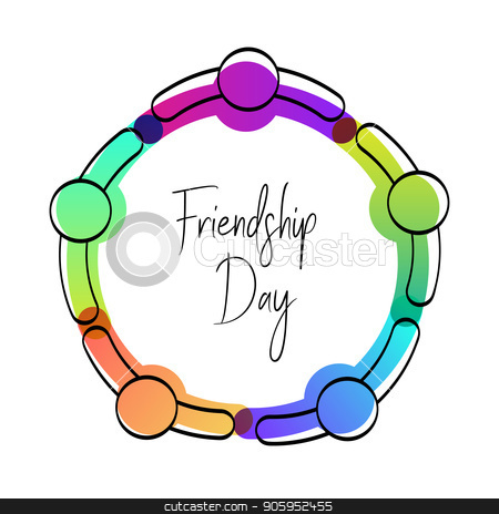 Happy friendship day card of friend group hug stock vector clipart, Happy Friendship Day greeting card. Friends doing group hug from top view angle, colorful diverse people team for special event celebration. EPS10 vector. by Cienpies Design