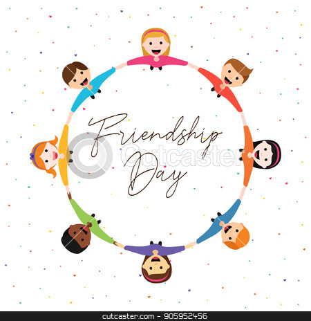 Friendship Day card of happy kid friends together stock vector clipart, Happy Friendship Day greeting card illustration of diverse children group circle holding hands from top view angle. Friend love concept for special event celebration. EPS10 vector. by Cienpies Design