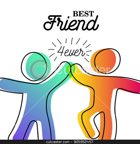 Happy friendship day card of friend high five stock vector clipart, Happy Friendship Day greeting card. Friends doing high five for special event celebration in simple stick figure art style with best friend forever quote. EPS10 vector. by Cienpies Design