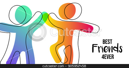 Friendship Day web banner of friends high five stock vector clipart, Happy Friendship Day web banner. Friends doing high five for special event celebration in simple stick figure art style with best friend forever quote. EPS10 vector. by Cienpies Design
