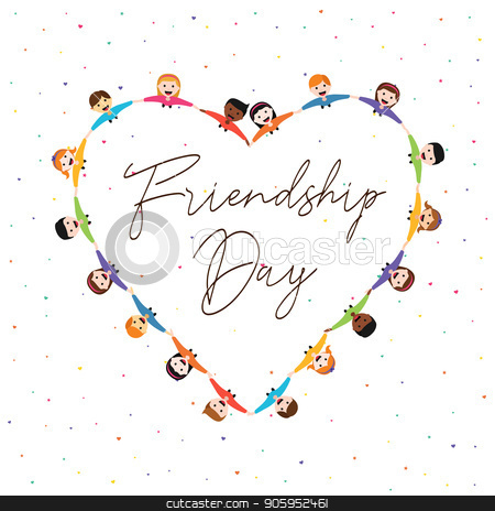 Friendship Day card of kid friends in love shape stock vector clipart, Happy Friendship Day greeting card illustration of diverse kid group in heart shape holding hands from top view angle. Friend love concept for special event celebration. EPS10 vector. by Cienpies Design