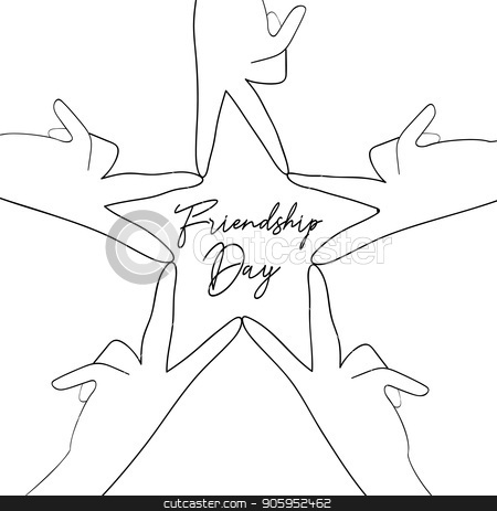 Friendship Day friend group hands star shape card stock vector clipart, Happy Friendship Day greeting card illustration of friend group hands making star shape in hand drawn style with celebration text quote. EPS10 vector. by Cienpies Design