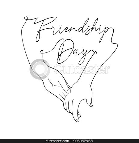 Friendship Day card of friend hands in single line stock vector clipart, Happy Friendship Day greeting card illustration of friends holding hands together in continuous line hand drawn style with celebration text quote. EPS10 vector. by Cienpies Design