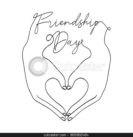 Friendship Day card of love heart shape hands stock vector clipart, Happy Friendship Day greeting card illustration of friends hands making heart shape together in continuous line style with celebration text quote. EPS10 vector. by Cienpies Design