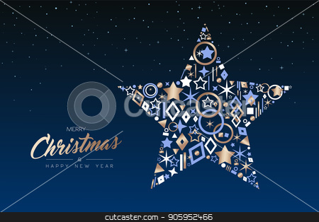 Christmas and New Year star made of copper icons stock vector clipart, Merry Christmas and Happy New Year greeting card. Elegant xmas ornament star made of outline icon luxury decoration, copper color holiday illustration. EPS10 vector. by Cienpies Design