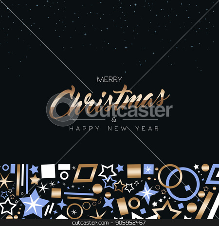 Christmas and New Year copper decoration icon card stock vector clipart, Merry Christmas and Happy New Year greeting card design with elegant copper color decoration icons on night sky star background. EPS10 vector. by Cienpies Design