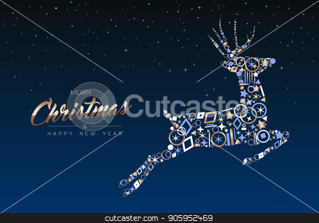Christmas and New Year copper deer decoration card stock vector clipart, Merry Christmas and Happy New Year greeting card. Elegant xmas reindeer made of outline icon luxury decoration, copper color holiday illustration. EPS10 vector. by Cienpies Design
