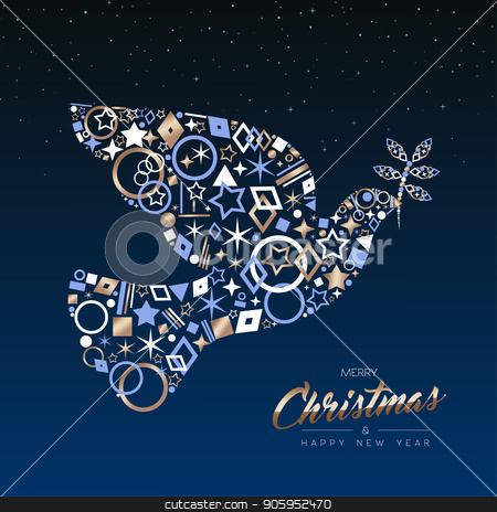 Christmas and new year card of copper peace dove stock vector clipart, Merry Christmas and New Year luxury greeting card illustration. Xmas peace dove made of elegant copper icons on night sky background. EPS10 vector. by Cienpies Design
