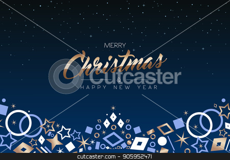 Christmas and New Year copper icon ornament card stock vector clipart, Merry Christmas and Happy New Year greeting card with luxury xmas icon decoration, copper color holiday illustration. EPS10 vector. by Cienpies Design