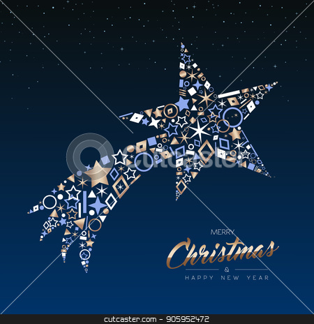 Christmas and New Year copper shooting star card stock vector clipart, Merry Christmas and Happy New Year greeting card. Elegant xmas shooting star made of outline icon luxury decoration, copper color holiday illustration. EPS10 vector. by Cienpies Design